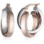 Amazon Collection 14k Gold Satin and Polished Crossover Hoop Earrings