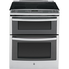 "GE PS950SFSS Profile 30"" Stainless Steel Electric Slide-In Smoothtop Double Oven Range"