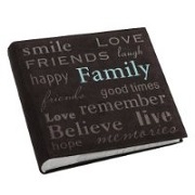 "Pioneer ""Family"" Text Design Sewn Faux Suede Cover Photo Album"