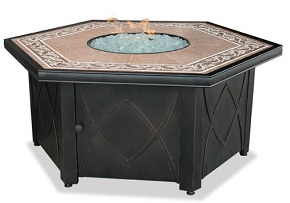 Uniflame GAD1380SP Lp Gas Outdoor Firebowl with Decorative Tile Mantel