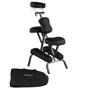 "Premium BestMassage Black 4"" Portable Massage Chair"