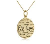 "Sterling Silver ""Mom"" Circle Graffiti Pendant Necklace"