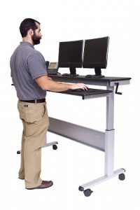 "60"" Crank Adjustable Height Sit to Stand Up Desk with Heavy Duty Steel Frame"