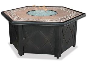Uniflame GAD1380SP Lp Gas Outdoor Firebowl with Decorative Tile Mantel